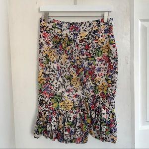 Anthropologie | Floral Ruffle Skirt